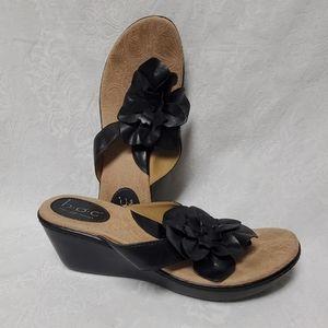 BOC Sandals women's 8 Black Flower Leather